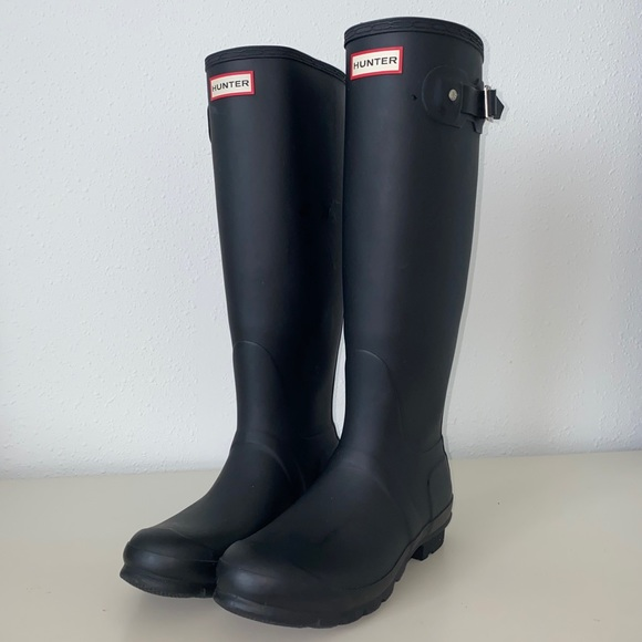 Tall Matte Black Rain Boots Adjustable